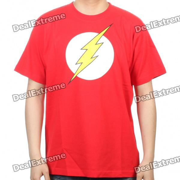 The Big Bang Theory Series The Flash Design Cotton T-shirt - Red (Size L)