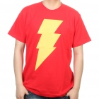 The Big Bang Theory Series Lightning Bolt Design Cotton T-shirt - Red (Size XL)
