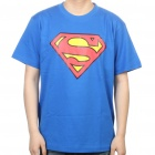 The Big Bang Theory Series Superman Logo Cotton T-shirt - Blue (Size L)