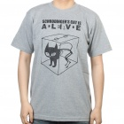 The Big Bang Theory Series Schrodinger's Cat is Alive Design Cotton T-shirt - Gray (Size M)