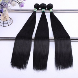 Synthetic Straight Hair Bundles 100% High Temperature Fibers Hair Extensions Nature Color 1B#3 Bundles Set 16inches