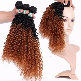 Jerry Curly Synthetic Hair Bundles 100% High Temperature Fibers Hair Extensions FSR-JERRYT1B/30 3 Bundles Set t1b/30/16 inches
