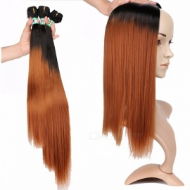 Synthetic Straight Hair Bundles 100% High Temperature Fibers Hair Extensions FSR-STW 3 T1/30 3 Bundles Set T1/30/16 inches