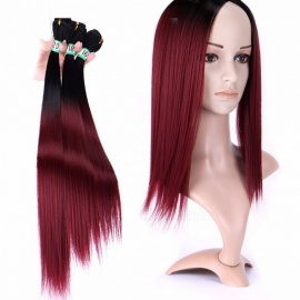 Synthetic Straight Hair Bundles 100% High Temperature Fibers Hair Extensions T1B/99j 3 Bundles Set T1B/99j/16 inches