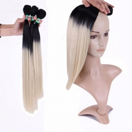 Synthetic Straight Hair Bundles 100% High Temperature Fibers Hair Extensions T1/613 3 Bundles Set T1/613/16 inches