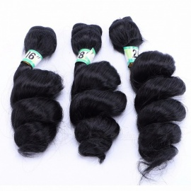 Wavy Hair Bundles Nature Color 100% High Temperature Fibers Hair Extensions LOOSEWAVE1B# 3 Bundles Set #1B/16 inches
