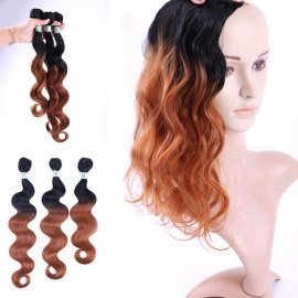 Wavy Hair Bundles 100% High Temperature Fibers Hair Extensions Bodywave T1B/30 3 Bundles Set T1B/30/16 inches