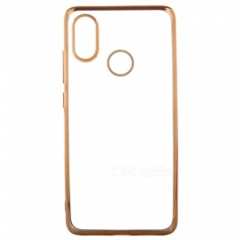 ASLING Transparent Back Case for Xiaomi 8 Electroplating TPU Soft Cover Protector - Gold