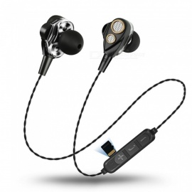 JEDX Wireless Earphone Dual Drive Bass Stereo Music In-Ear Earphones With Mic Four Speakers - Black