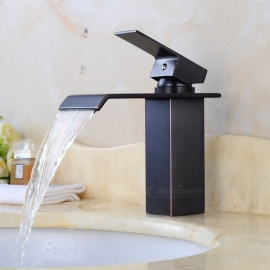 Contemporary Brass Waterfall Black Spray Paint Ceramic Valve One-Hole Bathroom Sink Faucet w/ Single Handle