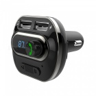 New T19 Car Bluetooth Speakerphone Car Charger Car Bluetooth MP3 Player Mobile Phone Charger Dual USB Ports - Black