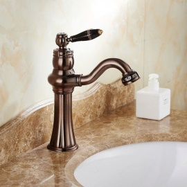 Contemporary Brass Oil-rubbed Bronze Ceramic Valve One-Hole Bathroom Sink Faucet w/ Single Handle