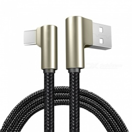 USB Type-C Nylon Weaving Fast Charging Data Sync Charger Cable for Xiaomi - Black (100cm)