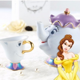Cute Cartoon Beauty And The Beast Teapot Mug, Mrs Potts Chip Cup, Tea Pot Cup Set Nice Xmas Gift Two-piece Set
