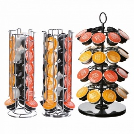 Rotatable Coffee Capsule Holder Stand Tower Rack, Nescafe Dolce Gusto Iron Plating Coffee Pod Storage Shelves 24 Pcs