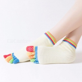 Anti-Slip Women Yoga Socks, Ankle Grip Durable Colorful Five Fingers Cotton Full Toe Yoga Socks (1 Pair / 35-40 Size) Beige
