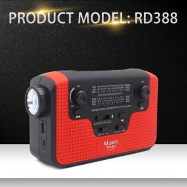 Emergency Charger, Hand Crank Generator FM AM Radio Player W/ Solar Powered Bluetooth Speaker, Dynamo LED Flashlight Red