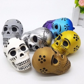 Halloween Skull Head Tricky Squishy Slow Rising Squeeze Toy, Stress Relief Toy For Children Adults Light Grey