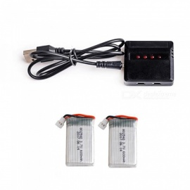 2pcs/lot 3.7V 600mAh 25C Capacity Lipo Batteries 802540 + X4 Charger For Molex 50005 RC Quadcopter Drone