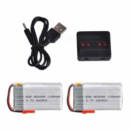JJRC 2Pcs H11 3.7V 1100mAh Lithium Batteries + X4 Charger for HQ898B H11C H11D RC Quadcopter Drone