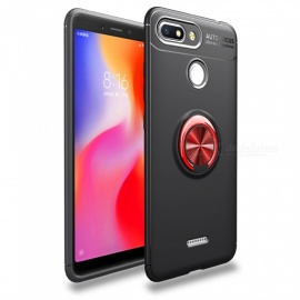ZHAOYAO TPU Soft Protective Back Cover Case with Ring Stand for Xiaomi Redmi 6A - Black + Red