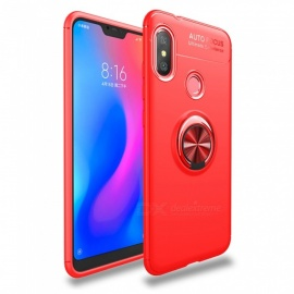 ZHAOYAO TPU Soft Protective Back Cover Case with Ring Stand for Xiaomi Redmi 6 Pro - Red