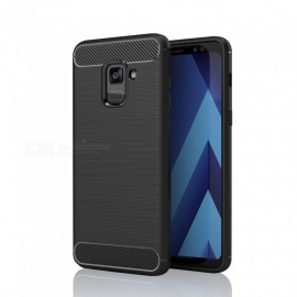 Brushed Skid-proof Carbon Fiber TPU Case for Samsung Galaxy A8 Plus 2018 - Black
