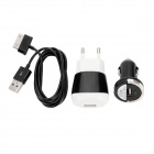 AC/Car Power Adapters + USB Data & Charging Cable Set for Samsung Galaxy Tab P1000 (110~240V)