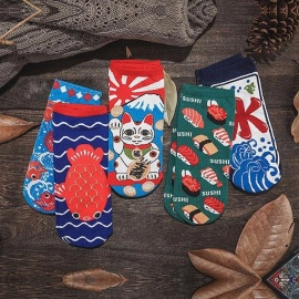 Summer Women Cute Cartoon Cat Pattern Ankle Socks Womens Fashion Invisible Cotton Boat Socks 5 Pairs For 34-39 Size Multi