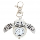 Cute Owl Style Stainless Steel Quartz Watch with Keychain - Silver