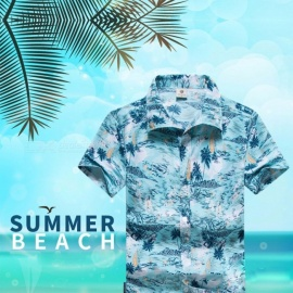 Mens Shirt Summer Style Palm Tree Print Beach Hawaiian Shirts Men Casual Short Sleeve Hawaii Shirt ST33 Sky Blue/M