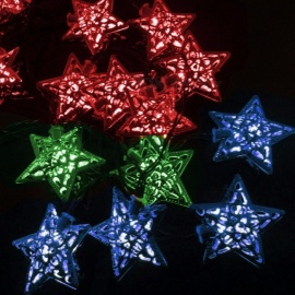 4.8M 20 LEDs Solar Powered Five-pointed Star String Lights Xmas String Light Wedding Garden Outdoor Decoration Blue/0-5W