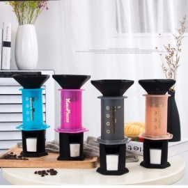 A01 French Press Espresso Coffee Household Portable DIY Coffee Pot Air Press Espresso Machine Coffee Maker Orange