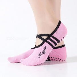 Professional Yoga Socks Cotton Women\'s Halter Boat Socks Non Slip Tape Pilates Socks Ballet Dance Socks For 34-39 Size Black