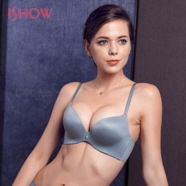 ISHOW Seamless Elastic Nipple Underwire Bra, Solid Color Push Up Invisible Button Bra, Women Sexy Lingerie Underwear Gray/70B