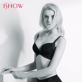 ISHOW Ultra Thin Soft Color Patchwork Seamless Underwire Bra, 3/4 Cup Push Up Bra, Women Sexy Underwear Lingerie Black/70A