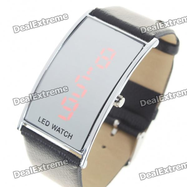 Stylish Digital Red LED Wrist Watch with Date Display - Black (1 x 568)