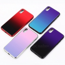 kreativ gradientfarge TPU-ramme + herdet glassfodral bakdeksel for IPHONE X blå / pc + TPU