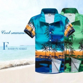 Coconut Tree Printing Loose Shirt, Casual Quick Dry Short Sleeve Men\'s Shirt, Beach Tops Clothes Clothing Green/5XL