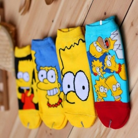 Spring Summer Women Cartoon Funny Cotton Happy Socks, Simpsons Family Novelty Cute Boat Socks (4 Pairs / 34-38 Size) Multi