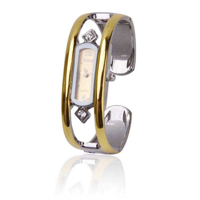 Stylish Bracelet Band Quartz Wrist Watch - Golden + Silver (1 x 377) stylish bracelet band quartz wrist watch golden silver 1 x 377