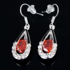 Elegant Crystal Earrings - Silver + Red (Pair)