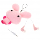 Cute Rabbit Figure Noise Isolation In-Ear Earphone w/ 3.5mm Adapter - Pink (2.5mm Jack/50CM-Cable)