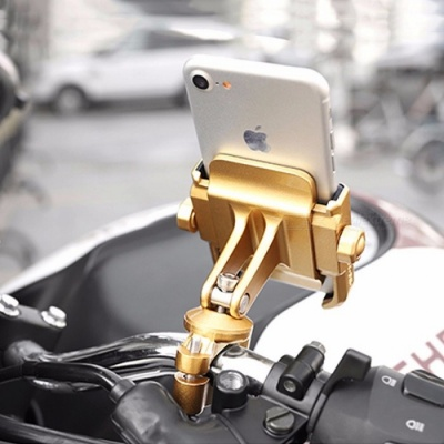 MOTOWOLF Universal Aluminum Alloy Motorcycle Phone Holder Support, Moto Telephone Bracket For GPS Bike Handlebar - Gold Gold