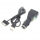 Car Charging Adapter + USB Cable Set for Samsung Galaxy Tab P1000 - Black (DC 10-26V)