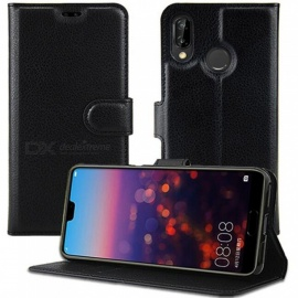 ASLING Mobile Phone Protective Flip Case With Card Slot, Stand for CUBOT P20 - Black