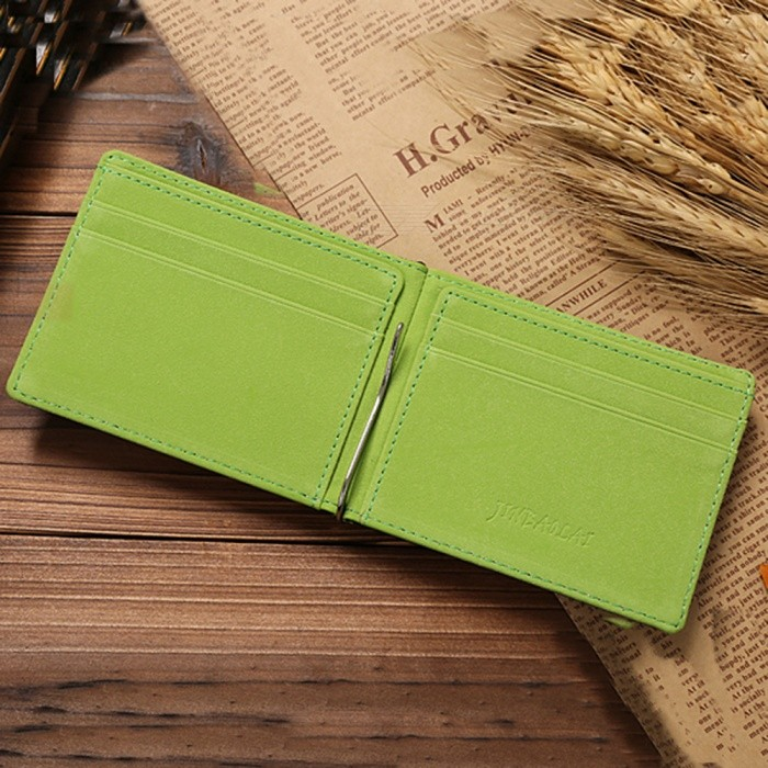 20b545fc7c63 JIN BAO LAI Leather Men Money Clips Metal Solid Wallets Dollar Purses  Credit Card Holder - Green - Free Shipping - DealExtreme