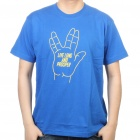 The Big Bang Theory Series Live Long and Prosper Design Cotton T-shirt - Blue (Size XXL)