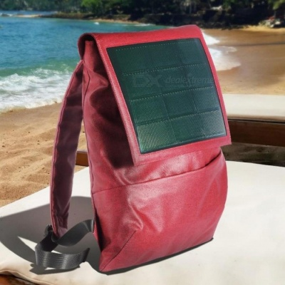 [Pre-sale] Hanergy Narci Solar Power Storage Fashion PU Leather Backpack w/ Built-in Solar Panel, 4950mAh Battery Bag - Red