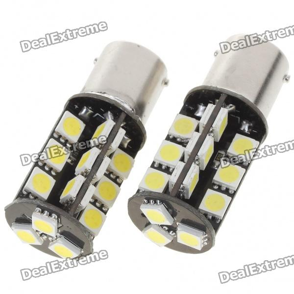 1156 4W 360-lumen 27x5050 SMD LED Car Brake/Tail/Turning Signal White Light Bulbs (Pair/12V)